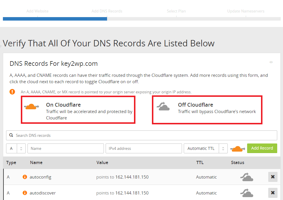 DNS records as shown in Cloudflare Easy DNS Management screen