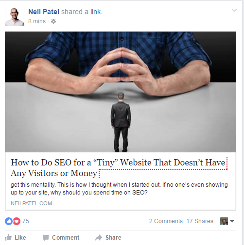 facebook uses page title and meta decription in its snippet