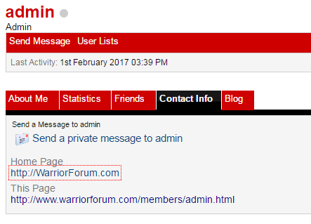 An example of forum profile link